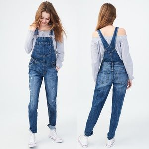 Aeropostale Medium Blue Distressed Denim Overalls